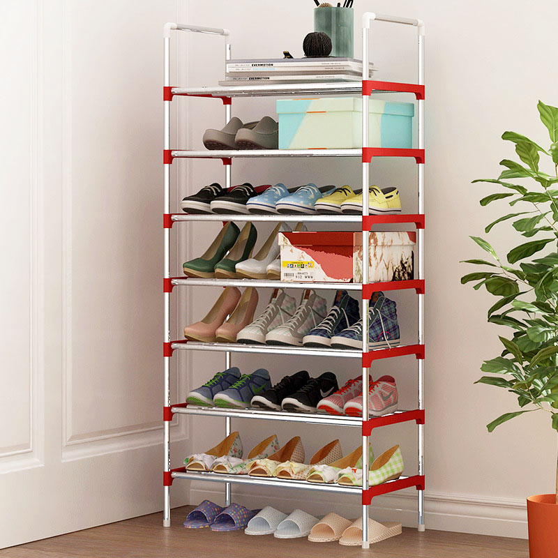 8 Layers Shoe Rack Galvanized steel pipe shoe cabinet shoe organizer removable shoe storage for home furniture Keep Room Neat 12 grid diy assemble folding cloth non woven shoe cabinet furniture storage home shelf for living room doorway shoe rack
