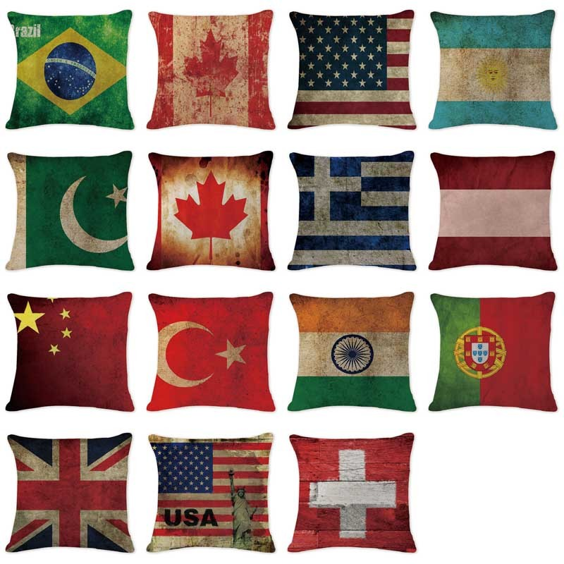 Hot Sale Cushion Cover Shabby Chic National Flag Pillowcases Sofa Seat Rectangle Cotton Linen Home Office Furniture Kussenhoes