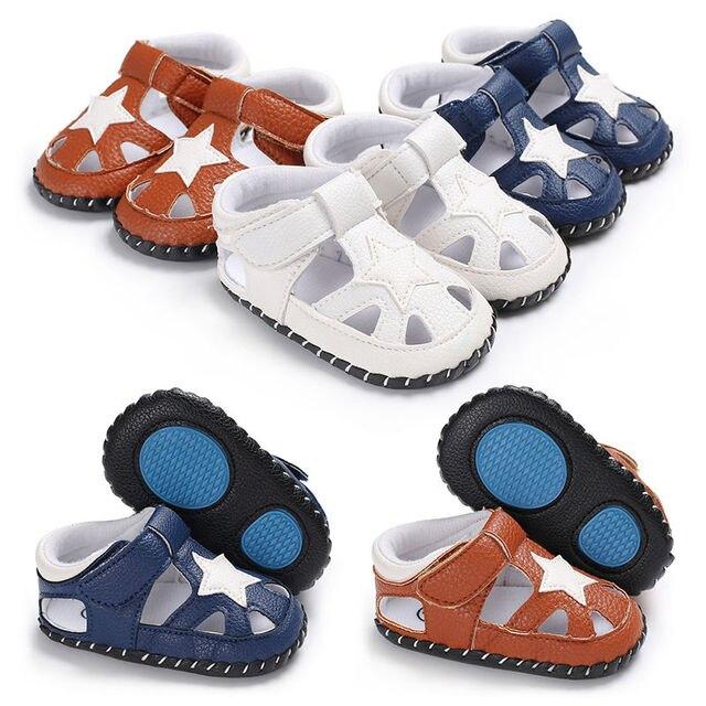 2018 קיץ תינוק בני סנדלי רך נגד החלקה תחתון ילדים תינוק סנדלים לנשימה PU כוכב עיצוב ילדי סנדלי נעליים