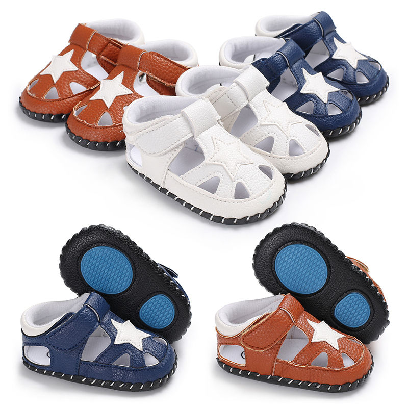 2019 Summer Baby Boys Sandals Soft Anti-skid Bottom Kids Baby Sandals Breathable PU Star Design Children Sandals Shoes