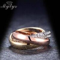 Mytysมาใหม่แฟชั่นแหวน3 in 1แหวนซ้อนGPขนาด6 7 8 9กลิ้งแหวนคู่ของขวัญR586