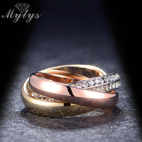 New Arrival Fashion Ring 3 In 1 Stacking Ring Set 18K Gold Plated Size 6 7