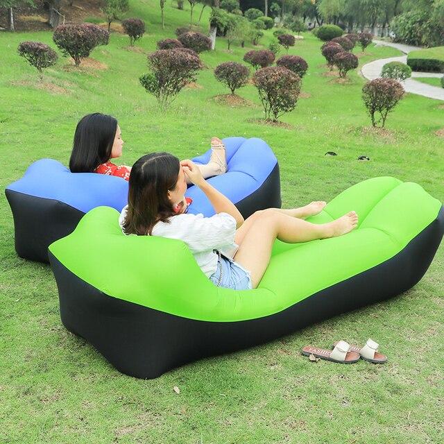 Kishoo Camping Equipment Inflatable Sofa Hammock Lazy Bag Air Bed Lounger Laybag Sleeping Hamac