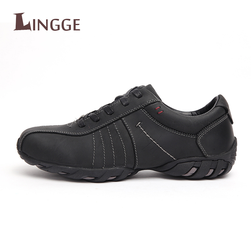 2018 Brand Handmade Genuine Leather Men Shoes Casual Fashion Men Flats Non-slip Design Comfortable Lace-up Men Working Shoes simple smiley face and lace up design men s casual shoes