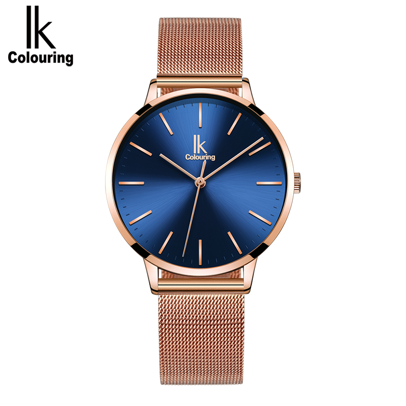 NEW 2019 IK Colouring Women Quartz Watch, Ultra-Thin Rose Gold Bracelet Minimalism Wrist Watch