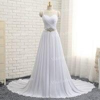 100 Real Sample Sexy Backless Wedding Dresses Chiffon Sweep Train Spaghetti Straps Beach Bridal Dresses