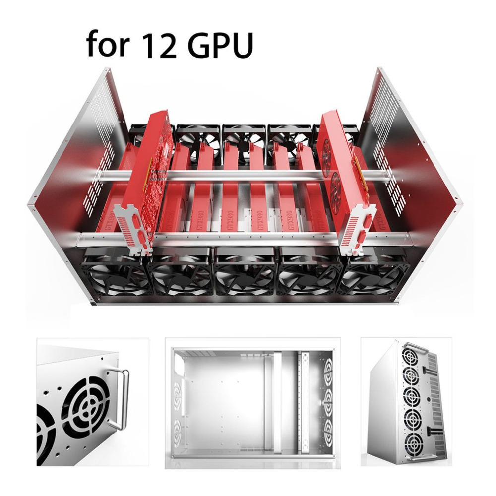 цена на Crypto Coin Open Air Mining Frame Rig Graphics Case ATX Fit 12 GPU Ethereum ETH ETC ZEC XMR Magnalium Alloy 12cm Fans