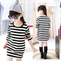 Children Girls' Clothing Black And White Stripes Summer Girl Dress Cotton 3-14 Years Kids Long Sleeve Dresses For Teenage Girls