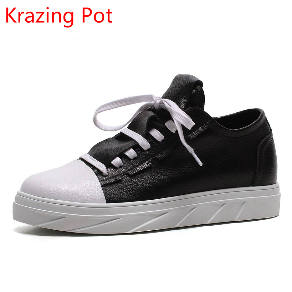 2018 Fashion Genuine Leather Lace Up Mixed Colors Platform Sneaker Increased Elegant Casual Handmade Women Vulcanized