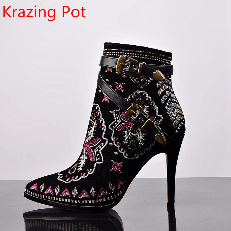 Winter Fashion Brand Embroidery High Heel Pointed Toe Buckle Flower Women Ankle Boots Thin Heels Shoes Causal Chelsea Boots L1 winter women shoes ankle martin boots chelsea boots pointed toe thin high heels big size fashion solid rivet slip on fleeces