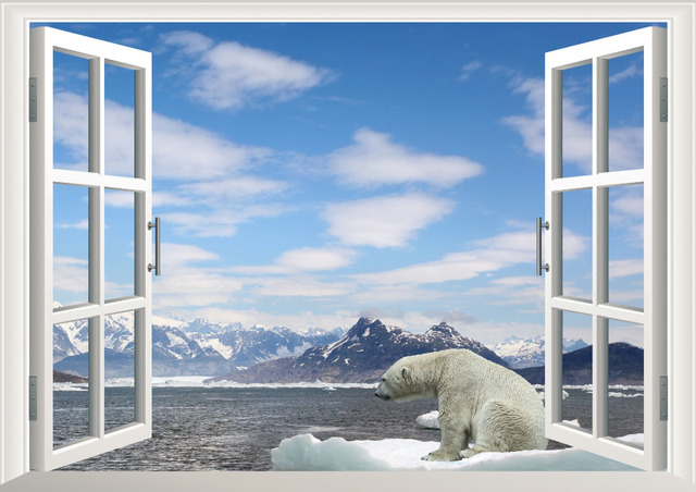 White snow glacier mountain beach polar bear 3d window for Fenetre polair 3