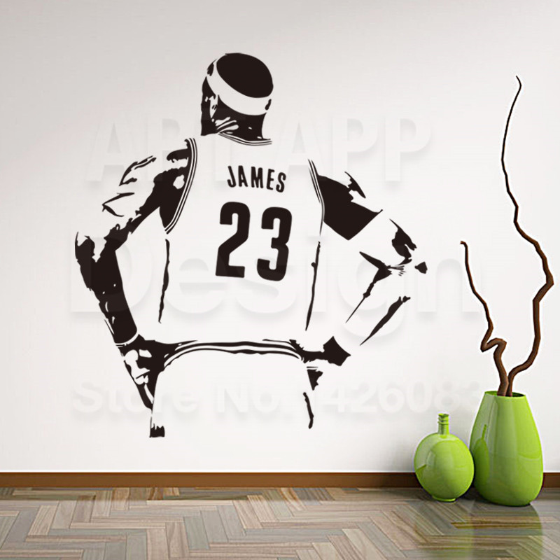 Art Design Cheap Vinyl Home Decoration Basketball Player James Figure Wall  Sticker Removable House Decor NBA LeBron Room Decals