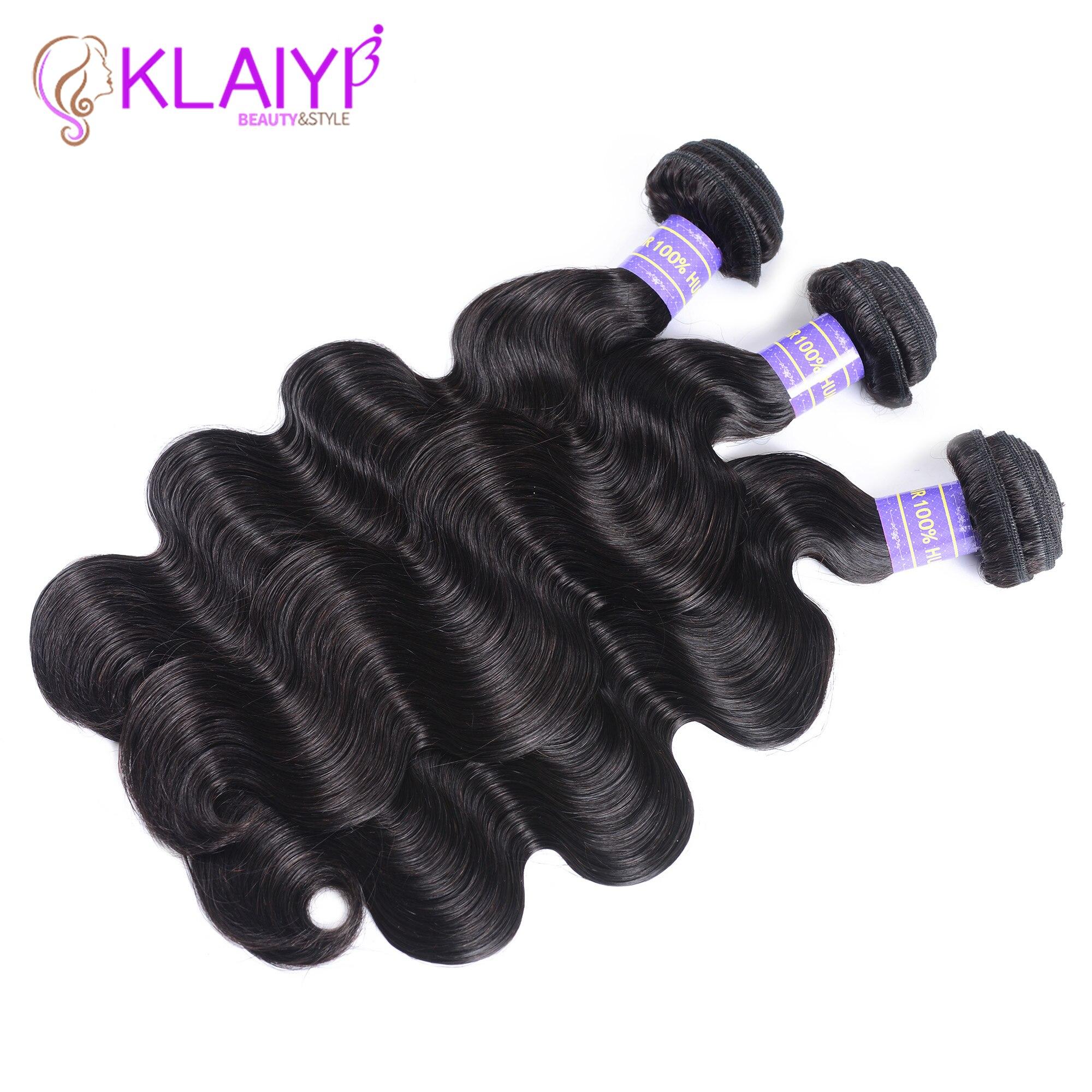 Klaiyi Brazilian Hair Weave 3 Bundles Body Wave Natural Black Color Human Hair Extension Remy Hair 3 pieces/lot Can Be Dyed