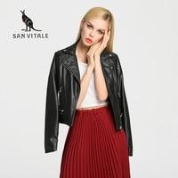 Female 2017 New Design Spring Autumn PU Leather Jacket Faux Soft Leather Coat Slim Black Rivet