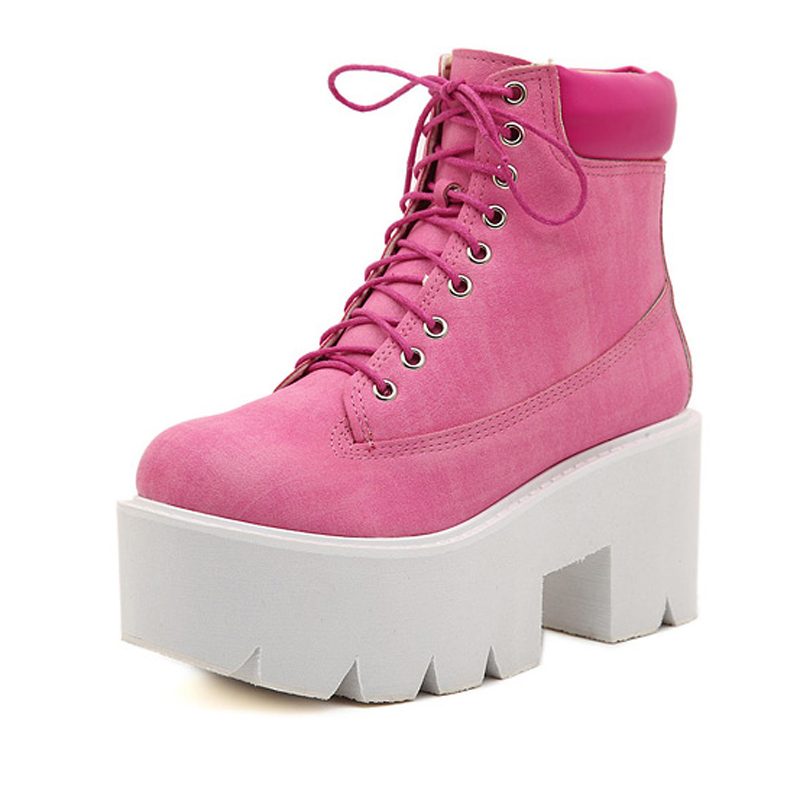 Women Ankle Boots Round Toe Casual Platforms Lace Up Punk Boots Classic Wedge Platform Ankle Boots Leisure Ladies Boots