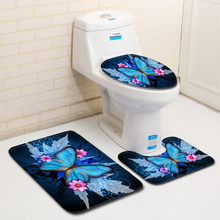 Nordic 3D Butterfly Toilet Bath Mat Carpet Rug Sets Bathroom Shower Room Carpets Flannel Anti Slip 3 Pieces Bath Mat Sets