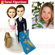wedding couplue travel figurines cake topper decorations Personalized Dog Figurines people animal sculpture statuette