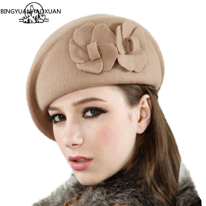 BINGYUANHAOXUAN 2018 Wool Beret Winter Berets Fashion French Floral Womens Felt French Beret Beanie Fedora Hat ladies Beret