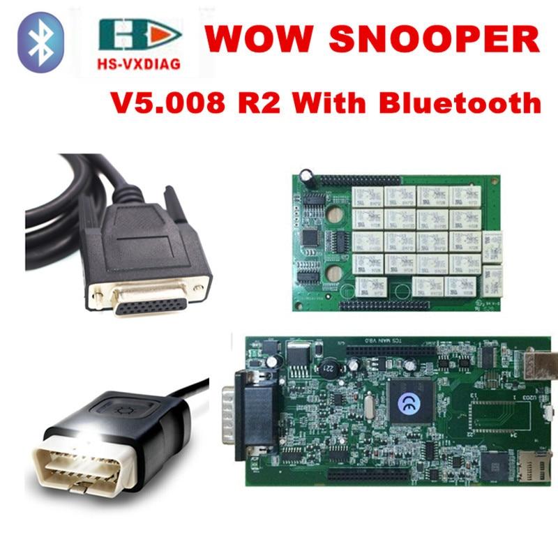 imágenes para 2017 más reciente obd2 conector wow snooper escáner para el coche/camión wow snooper + V5.008 software obd 2 Bluetooth coche escáner de diagnóstico