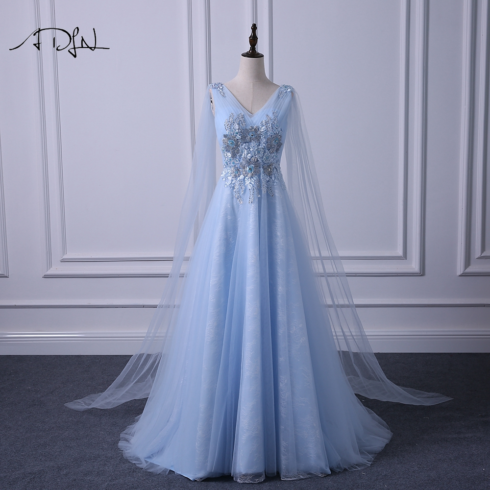 ADLN Elegant V neck Evening Dresses Long Fashionable Blue Prom Gown Dress with Watteau Train A line Formal Wedding Party Dress