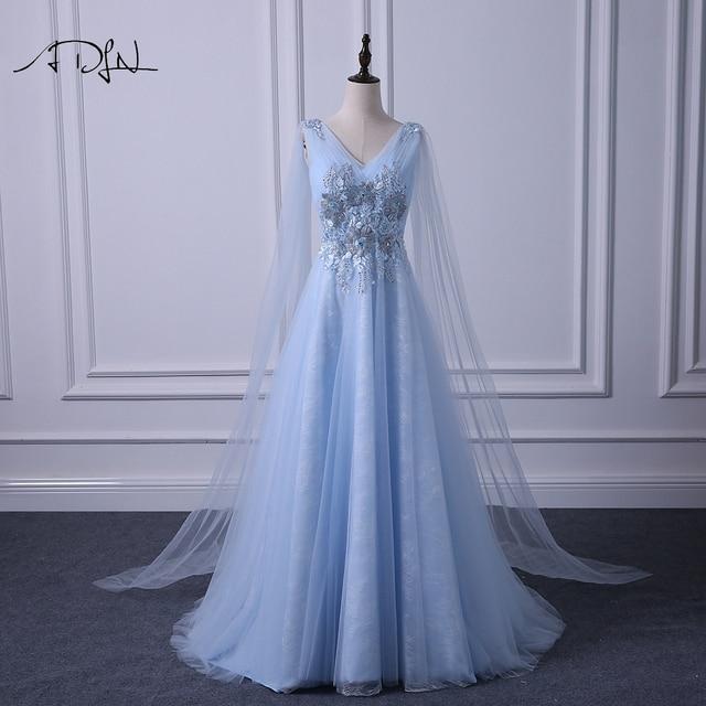 6c92f2e7400d ADLN Elegante Con Scollo A V Abiti Da Sera Lunghi Alla Moda Blu di  Promenade Del Vestito