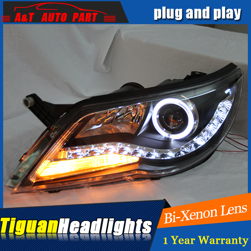 car Styling LED Head Lamp for VW Tiguan led headlights 2013-2015 Europe VolksWagen drl H7 hid Bi-Xenon Lens low beam hid kit car styling led head lamp for opel mokka headlights 2013 2014 mokka led headlight led drl h7 hid bi xenon lens low beam