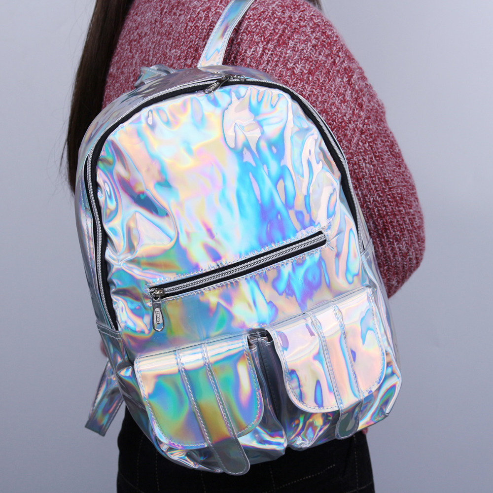 HOLOGRAPHIC Gammaray Hologram women backpacks for teenage girls Silver Laser Bag leather Holographic school bags купить недорого в Москве
