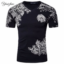 Men Short Sleeve V Neck Print Flower Designer White Black CottonT Shirt Summer Fashion Good Quality Slim Cotton T ShirtD056