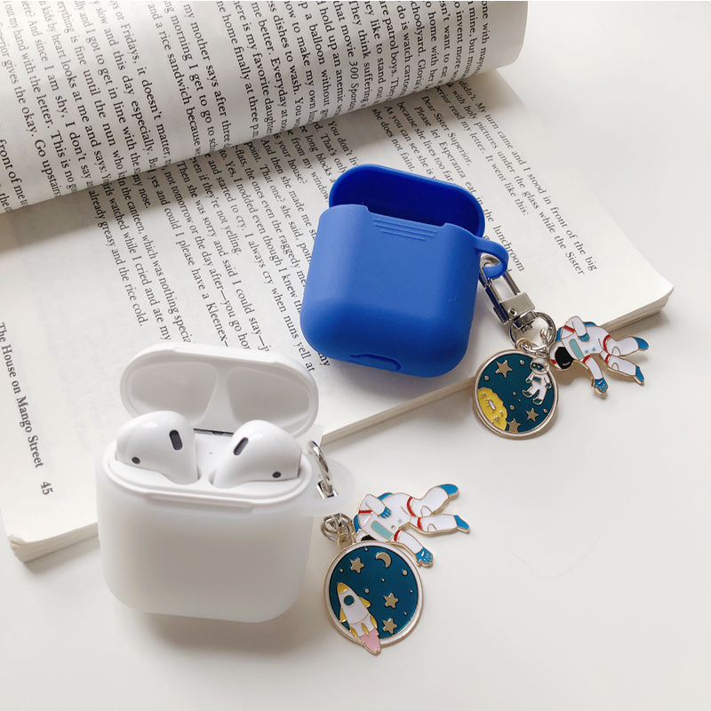 Luxury Astronaut Spaceman Silicone Case for Apple Airpods Accessories Protective Cover Box Bluetooth Earphone Key Ring