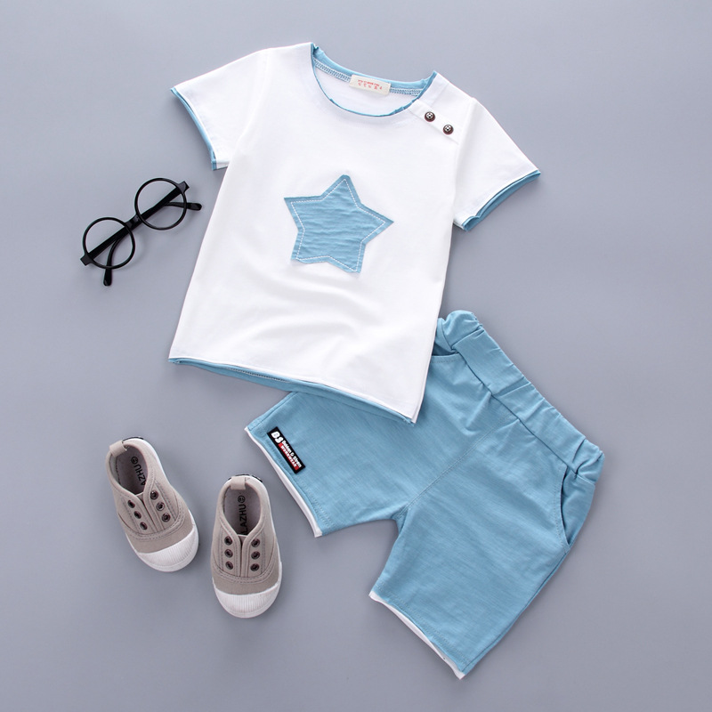 2018 2PCS Suit Baby Boy Clothes Children Summer Toddler Boys Clothing set Cartoon  New Kids Fashion Cotton Cute Stars Sets