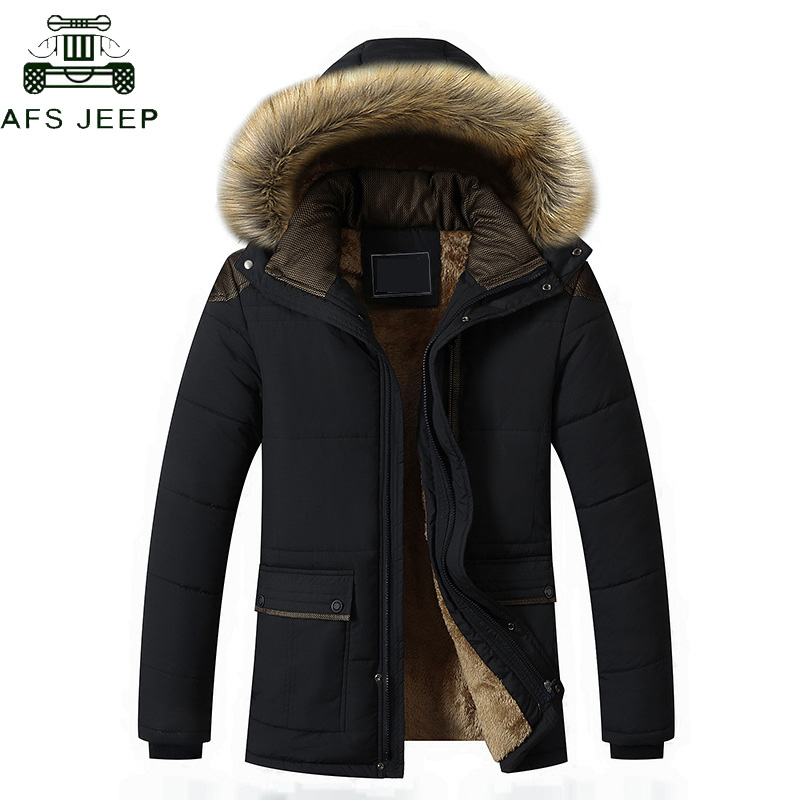 Plus Size M-5XL Fur Collar Hooded Men Winter Jacket 2018 Fashion Warm   Parkas   Men Wool Liner Windproof   Parkas   Hombre Invierno