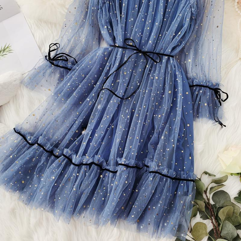 HISUMA spring autumn new women Star sequins gauze flare sleeve lace-up Princess dress female elegant o-neck mesh puff dresses 38