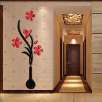 Venda quente adesivos de parede espelho acrílico adesivo diy decoração de casa flor 3d adesivo sala de estar moderna design
