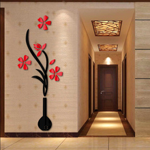 2015 hot sale wall stickers acrylic mirror diy sticker home decoration flower 3d living room modern design free shipping