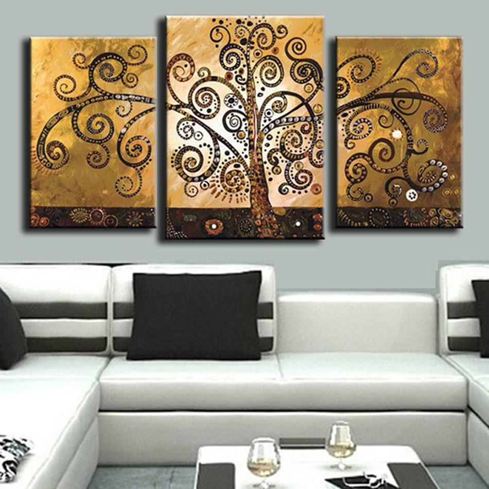 Əl ilə işlənmiş mücərrəd ev dekorasiyası 3 panel pul pulu - Ev dekoru - Fotoqrafiya 2