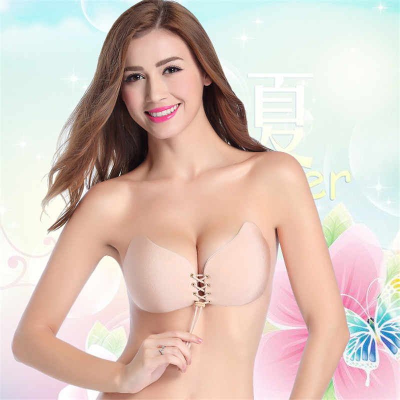 20a4a2cf9 Push Up Bra Self Adhesive Strapless Bandage Blackless Solid Bra Stick Gel  Silicone women s underwear Invisible
