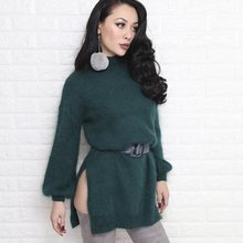 Free Shipping 2017 New Arrival High Quality Emerald Loose Women Sweaters Pullovers Long Mink Hair Knitting Turtleneck Sweater
