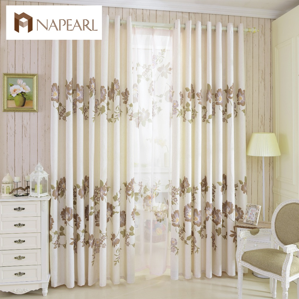 Floral style rustic design semi-blackout drape curtain home decoration