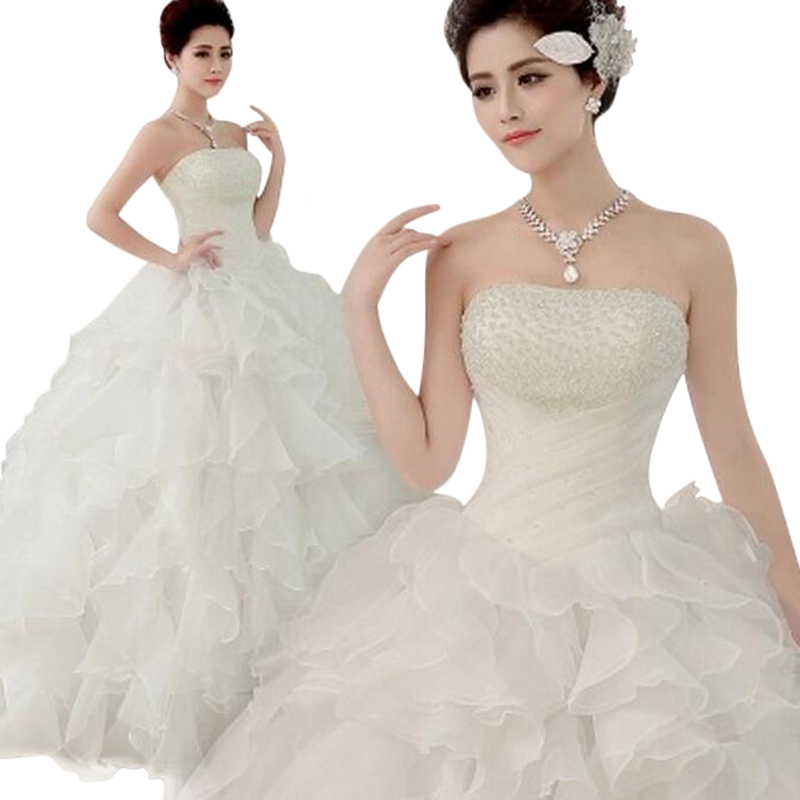 Wedding Gowns With Ruffles: Sweet Ruffles Tutu Wedding Dress Floor Length Strapless