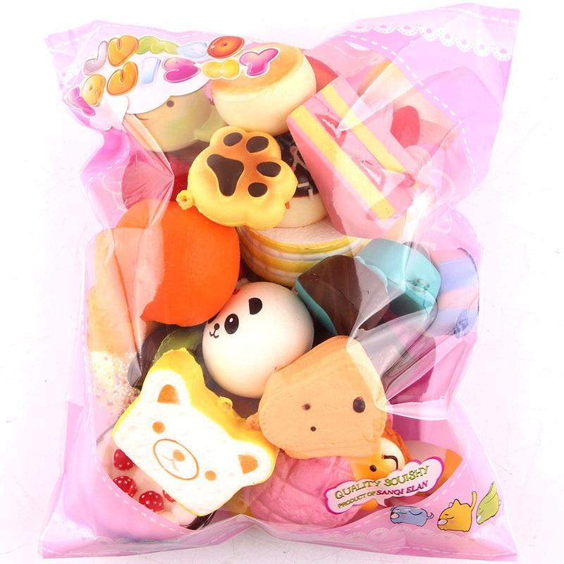 10pcs Funny Cute Kawaii Bread Loaf Cake Bun Donuts Ice Cream Squishy Slow Rising Toy Anti Stress Anxiety Random Style