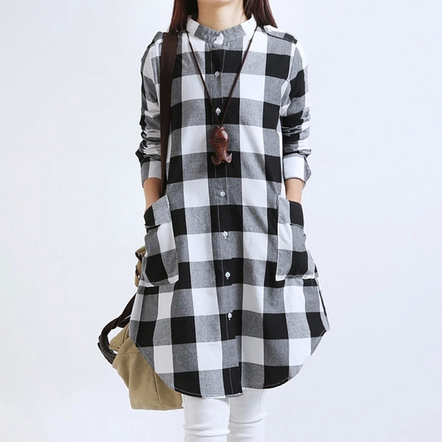6772186ced448 Fashion New Autumn Plaid Blouse Plus Size 3XL Elegant Women Tops Casual  Cotton Linen Blouses Vintage Ladies Shirts Blusas AB340