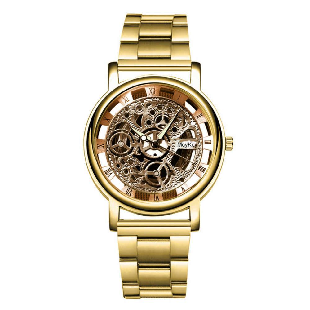 Reloj 2019 para hombre, nueva marca de moda, diseño Retro de lujo, de alta calidad, negro, esqueleto, Masculino militar