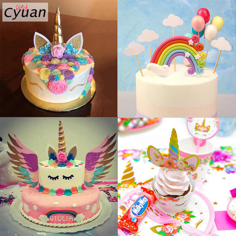Unicorn Cake Topper Rainbow Cupcake Wrappers Baby Shower Unicorn Party Supplies Birthday Party Cake Decoration For Kids Children Cake Decorating Supplies Aliexpress