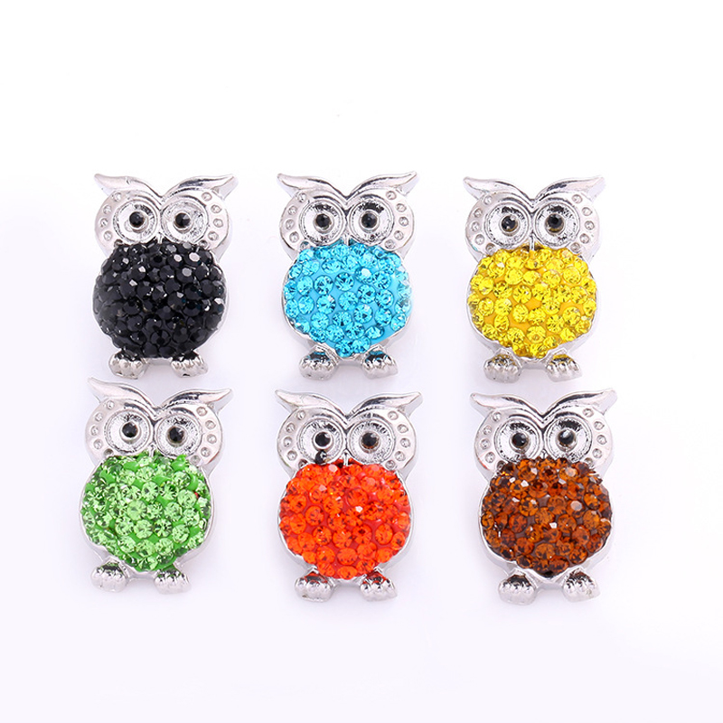 Wholesale 10Pcs High Quality Charm Rhinestone Alloy Owl Snap Button Charms Fit Women Bracelet 18MM Snap Button Beads Jewelry
