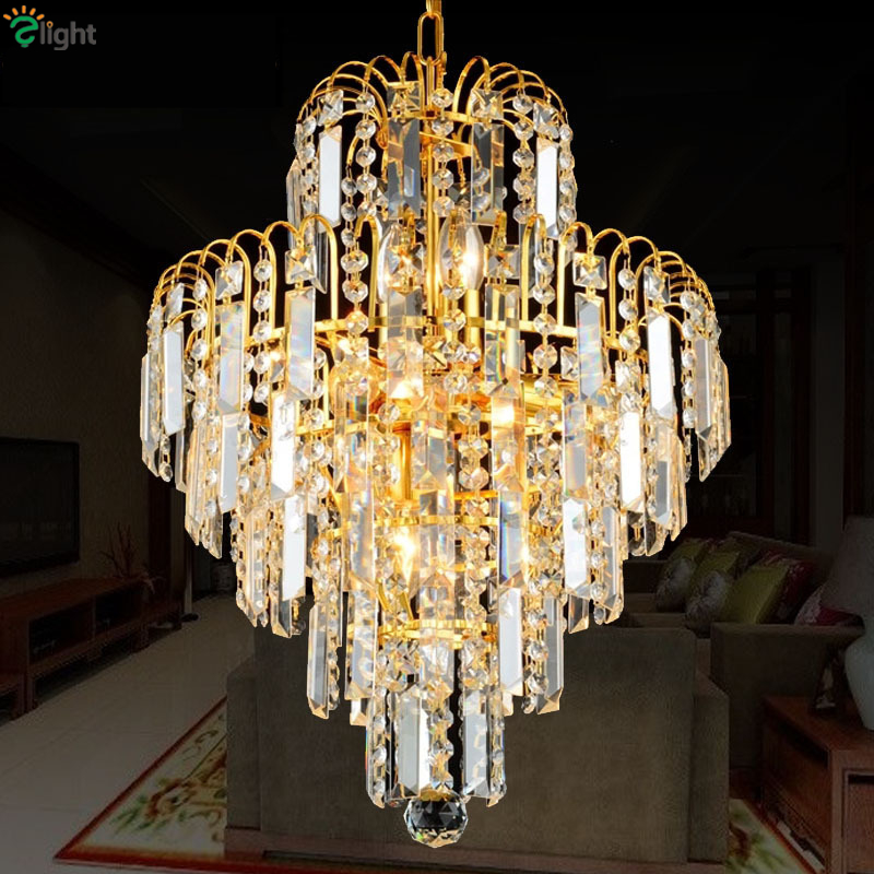 Modern Dia40 50cm Electroptic Gold K9 Crystal Pendant Light Dining Room Luxury Re Led Chain Suspension Lamp