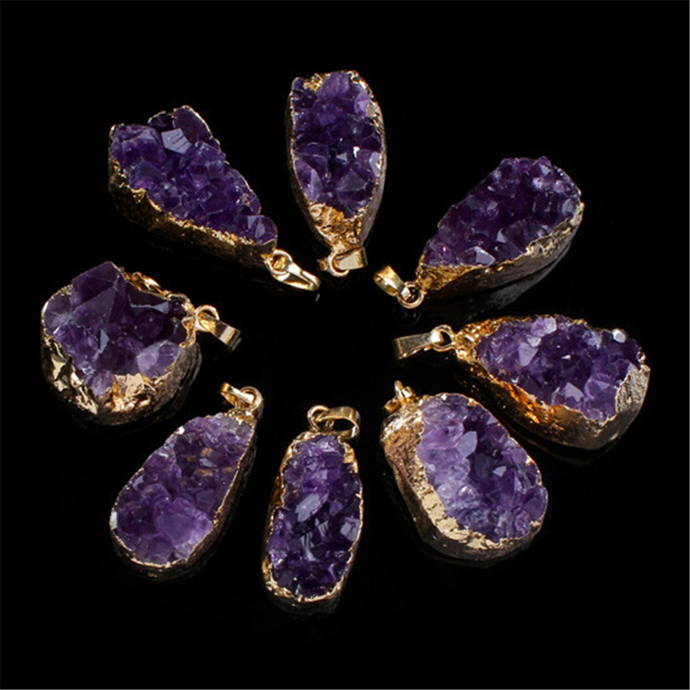 Naturlig lila Crystal Geode Quartz oregelbunden Crystal Druzy Cluster - Märkessmycken
