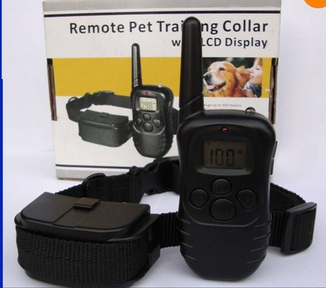 with battery 988D 300M LCD 100LV 300 Yard Level Electric Shock Vibration Remote Anti Bark Pet Dog Training Collar