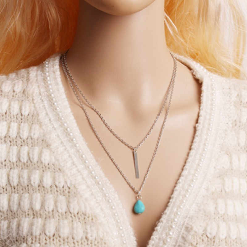 x29 Bohemian Style Gold Color Chain Necklace For Women Fashion Jewelry Green Bead Pendant Necklace 2 Layers Necklace Wholesale