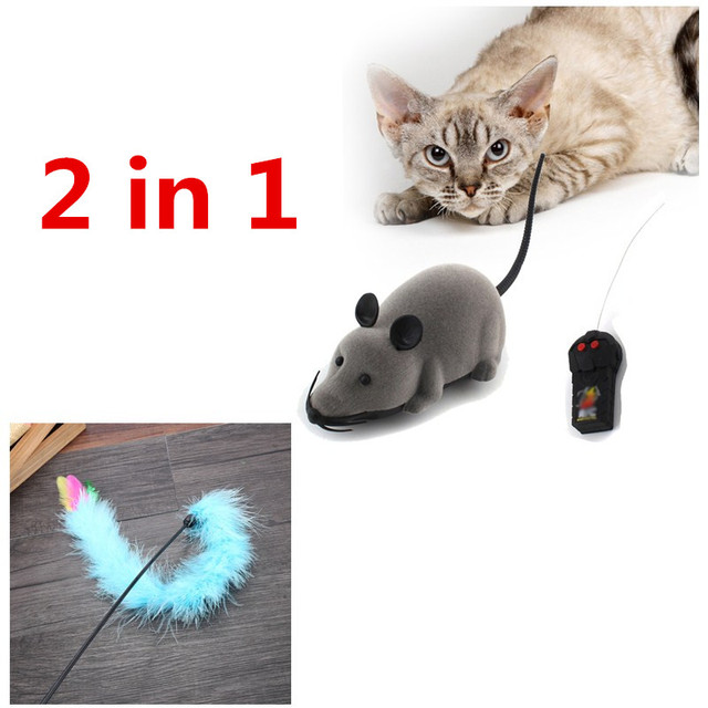 1 set Gatto Giocattolo RC Rat Mouse Giocattolo Divertente Gattino Gatto Su UNA C
