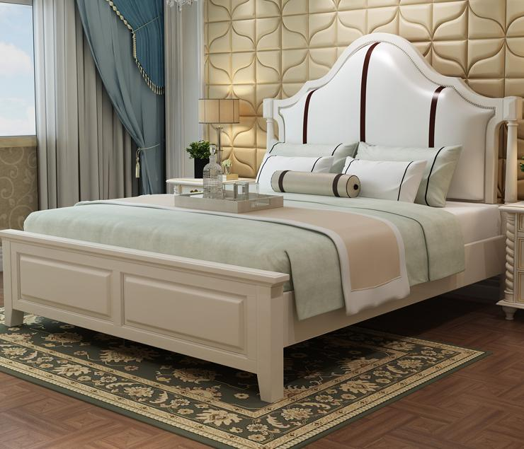 American Solid Wood Bed, 1.8/1.5 Meters Double Skin Bed, All Solid Wood Bed, enhanced version of european style metal bed iron bed double bed pastoral style student bed 1 5 meters 1 8 meters